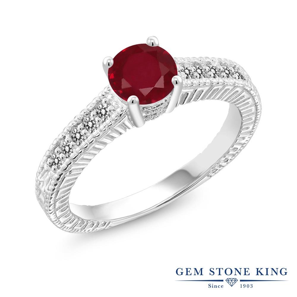 Gem Stone King 1.17カラット 天然 ルビー 天然 ダイヤモンド シルバー925 指輪 リング レディース 大粒 マルチストーン 天然石 7月 誕生石 金属アレルギー対応 誕生日プレゼント