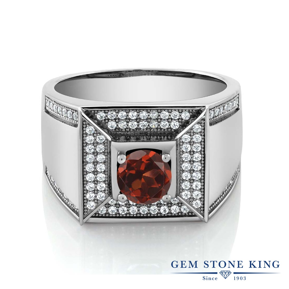 Gem Stone King 2.1カラット 天然 ガーネット 指輪 リング レディース シルバー925 大粒 カレッジリング 天然石 1月 誕生石 金属アレルギー対応