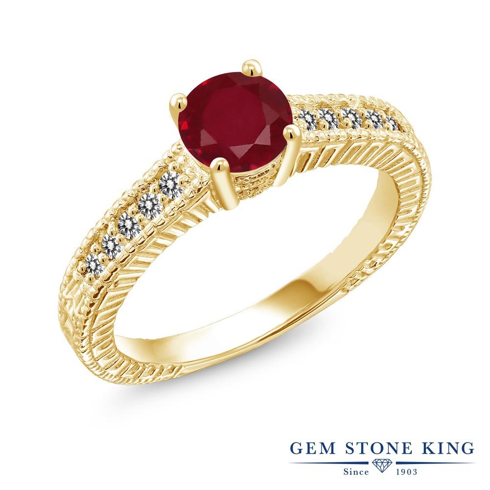 Gem Stone King 1.17カラット 天然 ルビー 天然 ダイヤモンド シルバー925 イエローゴールドコーティング 指輪 リング レディース 大粒 マルチストーン 天然石 7月 誕生石 金属アレルギー対応 誕生日プレゼント