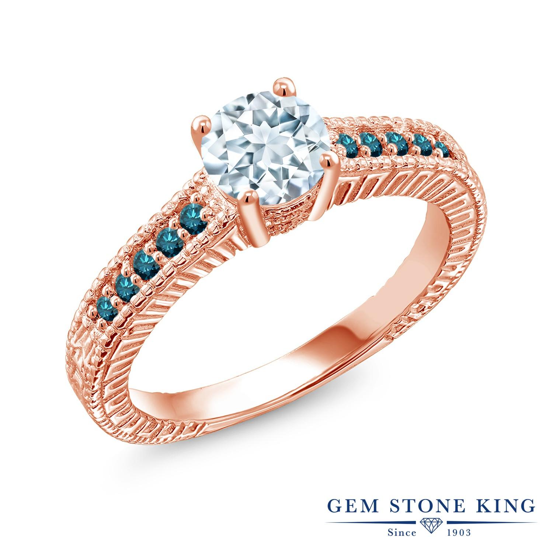 Gem Stone King 0.92カラット 天然 アクアマリン 天然 ブルーダイヤモンド シルバー925 ピンクゴールドコーティング 指輪 リング レディース マルチストーン 天然石 3月 誕生石 金属アレルギー対応 誕生日プレゼント