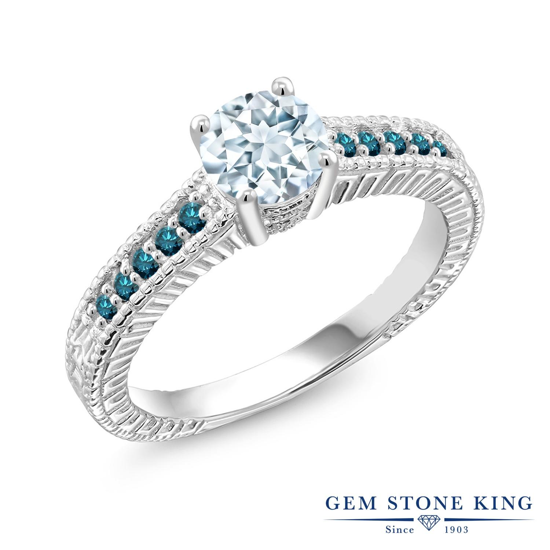 Gem Stone King 0.92カラット 天然 アクアマリン 天然 ブルーダイヤモンド シルバー925 指輪 リング レディース マルチストーン 天然石 3月 誕生石 金属アレルギー対応 誕生日プレゼント