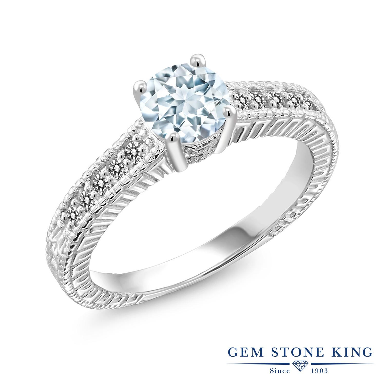 【10%OFF】 Gem Stone King 0.92カラット 天然 アクアマリン ダイヤモンド 指輪 リング レディース シルバー925 マルチストーン 天然石 3月 誕生石 クリスマスプレゼント 女性 彼女 妻 誕生日