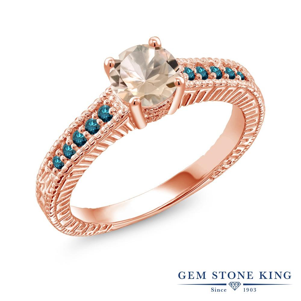Gem Stone King 0.77カラット 天然 モルガナイト (ピーチ) 天然 ブルーダイヤモンド シルバー925 ピンクゴールドコーティング 指輪 リング レディース マルチストーン 天然石 3月 誕生石 金属アレルギー対応 誕生日プレゼント