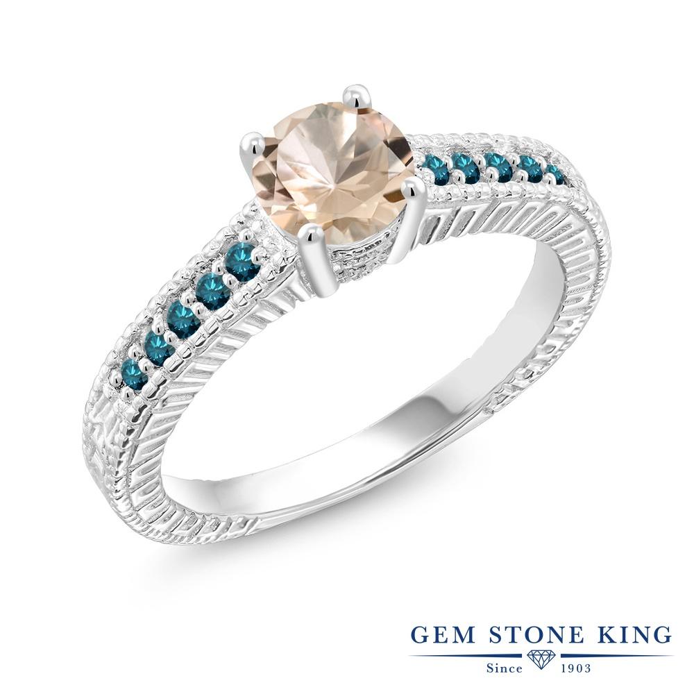 Gem Stone King 0.77カラット 天然 モルガナイト (ピーチ) 天然 ブルーダイヤモンド シルバー925 指輪 リング レディース マルチストーン 天然石 3月 誕生石 金属アレルギー対応 誕生日プレゼント