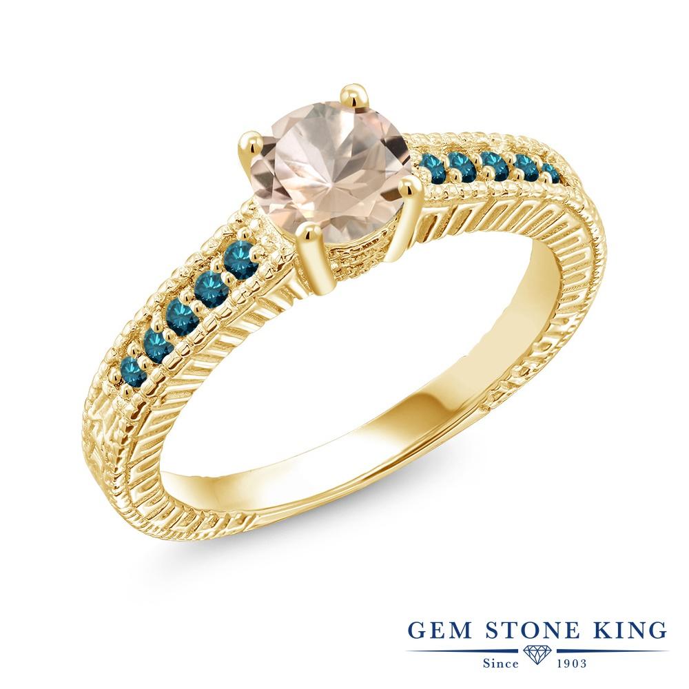 Gem Stone King 0.77カラット 天然 モルガナイト (ピーチ) 天然 ブルーダイヤモンド シルバー925 イエローゴールドコーティング 指輪 リング レディース マルチストーン 天然石 3月 誕生石 金属アレルギー対応 誕生日プレゼント