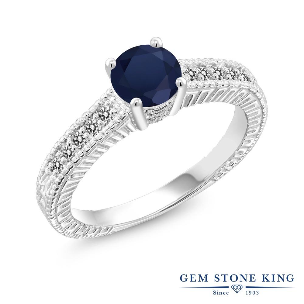 Gem Stone King 1.17カラット 天然 サファイア 天然 ダイヤモンド シルバー925 指輪 リング レディース 大粒 マルチストーン 天然石 9月 誕生石 金属アレルギー対応 誕生日プレゼント