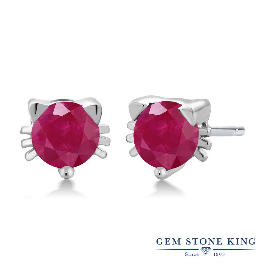 Gem Stone King 1.1カラット 天然 ルビー シルバー925 ピアス レディース シンプル スタッド 天然石 7月 誕生石 金属アレルギー対応 誕生日プレゼント