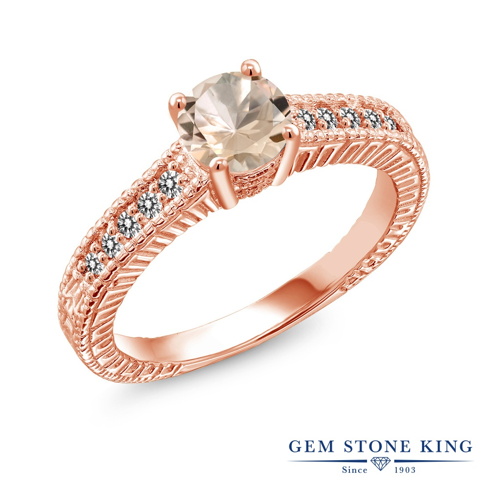 Gem Stone King 0.77カラット 天然 モルガナイト (ピーチ) 天然 ダイヤモンド シルバー925 ピンクゴールドコーティング 指輪 リング レディース マルチストーン 天然石 3月 誕生石 金属アレルギー対応 誕生日プレゼント