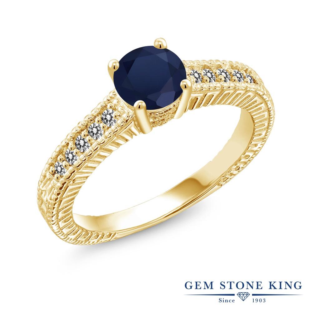 【10%OFF】 Gem Stone King 1.17カラット 天然 サファイア ダイヤモンド 指輪 リング レディース シルバー925 イエローゴールド 加工 大粒 マルチストーン 天然石 9月 誕生石 クリスマスプレゼント 女性 彼女 妻 誕生日