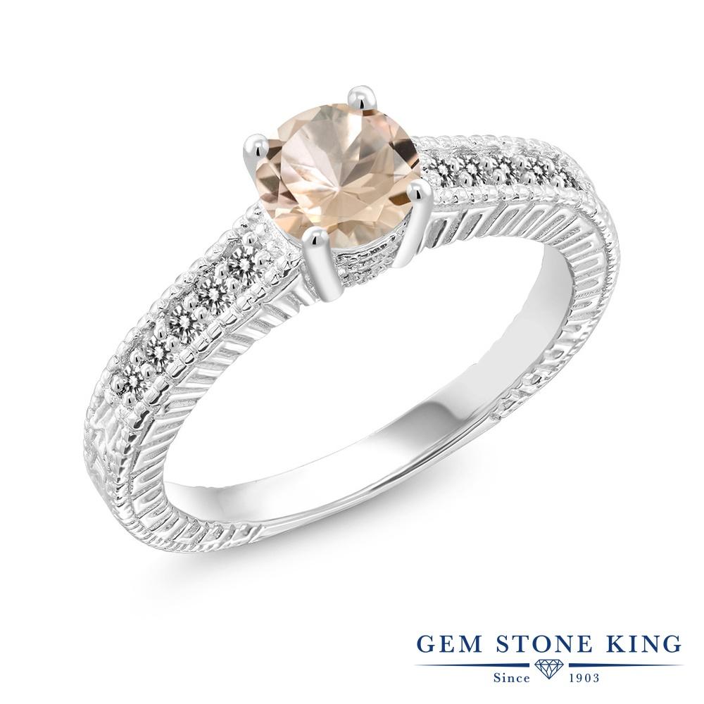 【10%OFF】 Gem Stone King 0.77カラット 天然 モルガナイト (ピーチ) ダイヤモンド 指輪 リング レディース シルバー925 マルチストーン 天然石 3月 誕生石 クリスマスプレゼント 女性 彼女 妻 誕生日