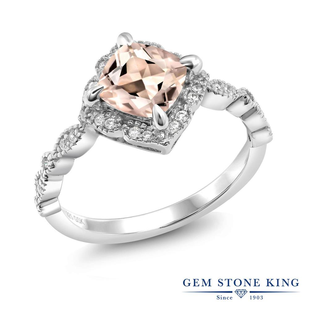 Gem Stone King 1.64カラット 天然 モルガナイト (ピーチ) シルバー925 指輪 リング レディース 大粒 一粒 ヘイロー 天然石 3月 誕生石 金属アレルギー対応 誕生日プレゼント