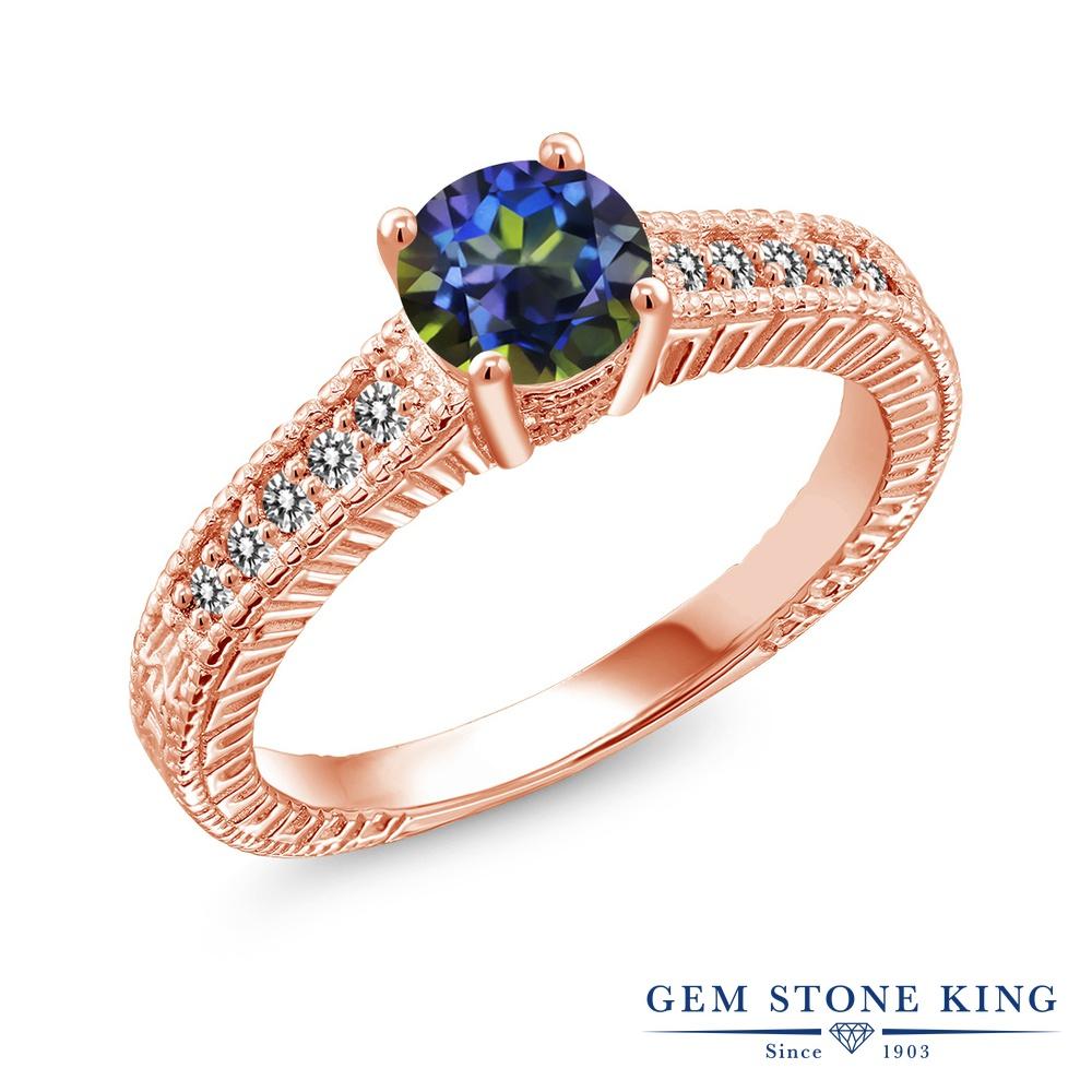 Gem Stone King 1.17カラット 天然石 ミスティックトパーズ (ブルー) 天然 ダイヤモンド シルバー925 ピンクゴールドコーティング 指輪 リング レディース 大粒 マルチストーン 天然石 金属アレルギー対応 誕生日プレゼント