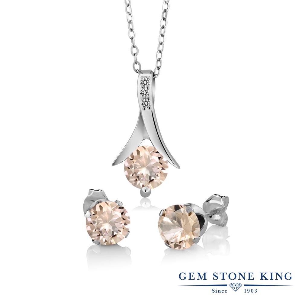 Gem Stone King 1.85カラット 天然 モルガナイト (ピーチ) 天然 ダイヤモンド シルバー925 ペンダント&ピアスセット レディース 天然石 3月 誕生石 金属アレルギー対応 誕生日プレゼント