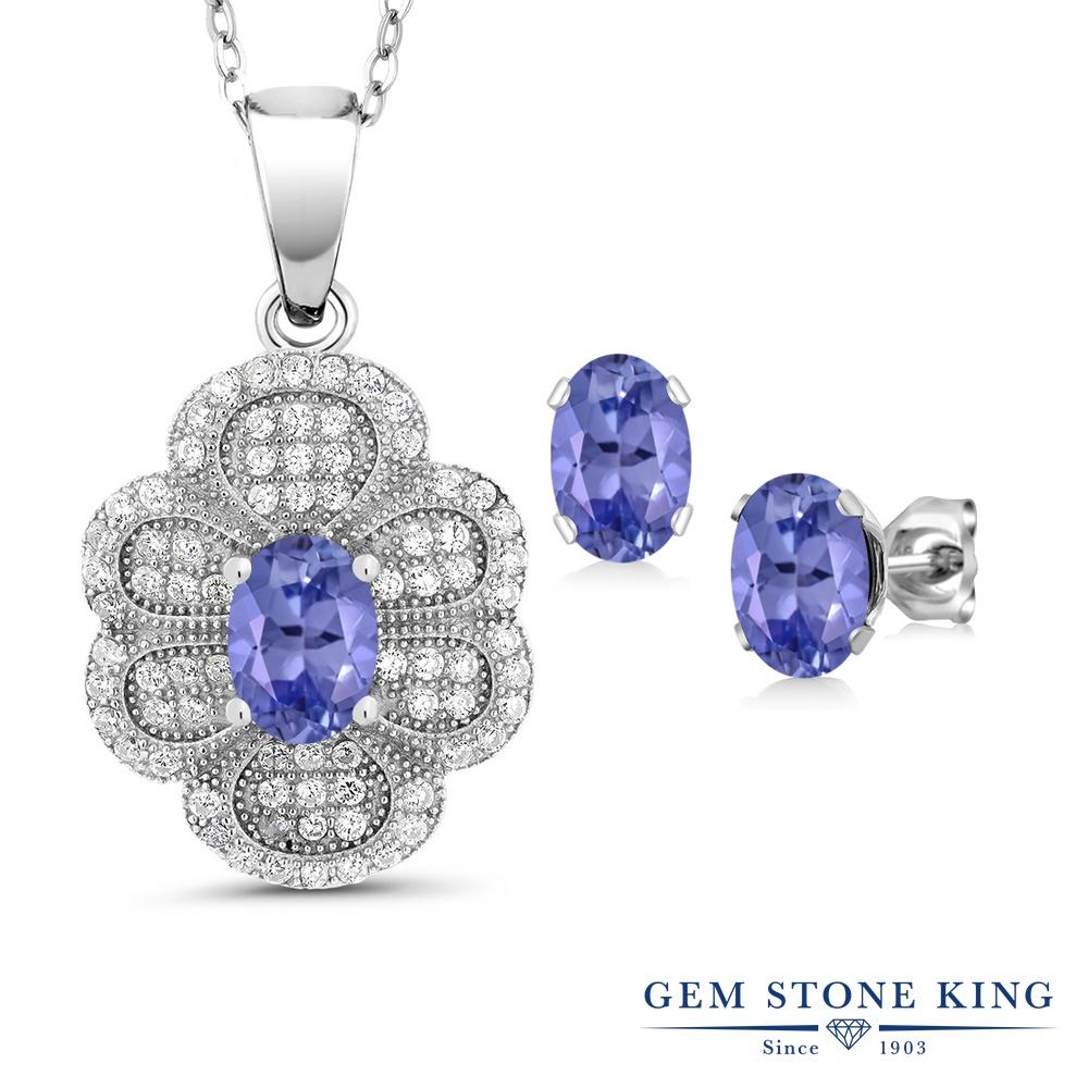 Gem Stone King 3.17カラット 天然石 タンザナイト シルバー925 ペンダント&ピアスセット レディース 大ぶり 天然石 12月 誕生石 金属アレルギー対応 誕生日プレゼント