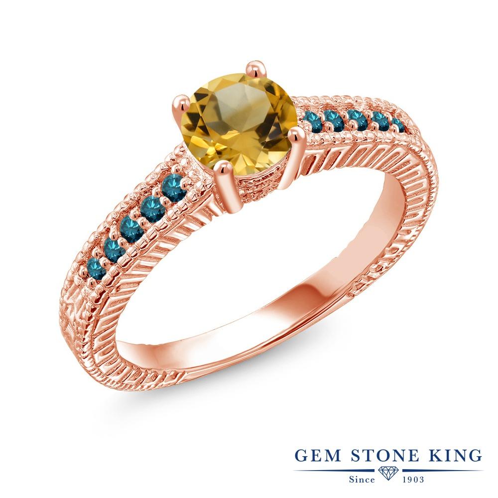 【10%OFF】 Gem Stone King 0.87カラット 天然 シトリン ブルーダイヤモンド 指輪 リング レディース シルバー925 ピンクゴールド 加工 マルチストーン 天然石 11月 誕生石 クリスマスプレゼント 女性 彼女 妻 誕生日