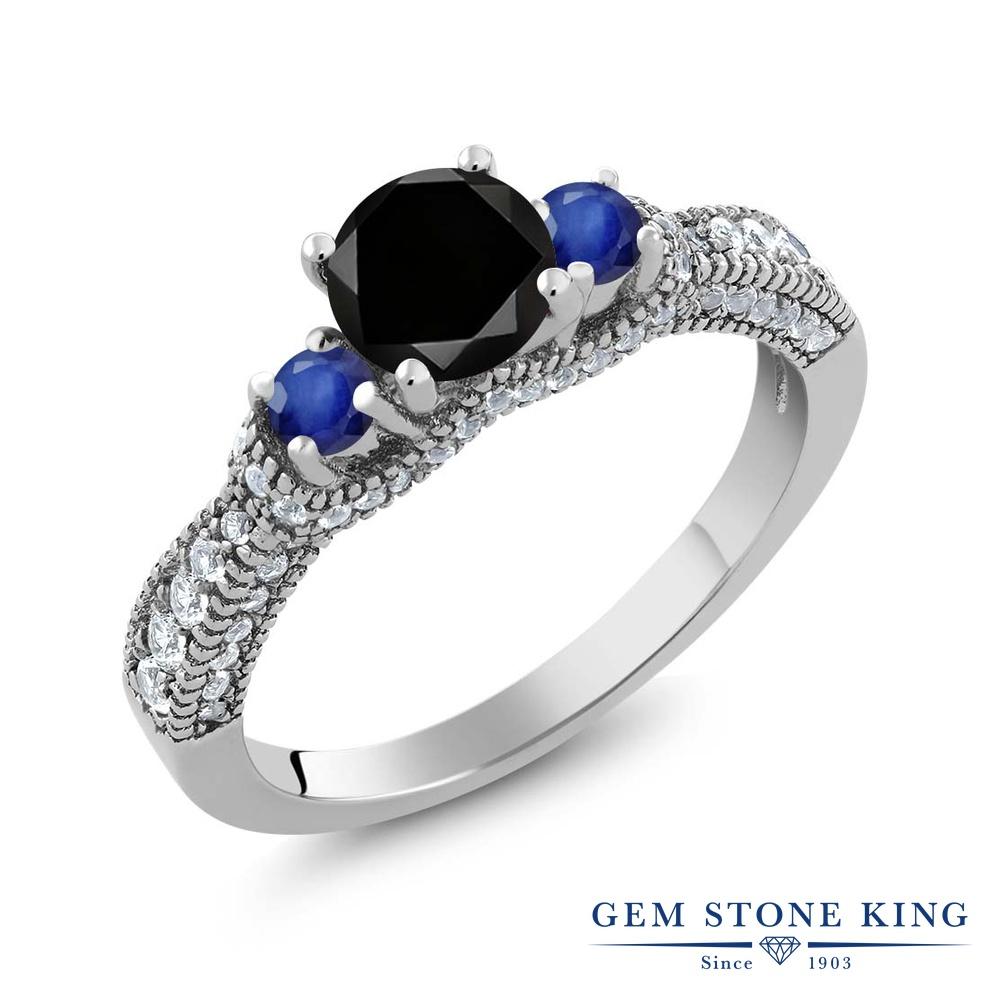 【10%OFF】 Gem Stone King 1.8カラット ブラックダイヤモンド 天然 サファイア 指輪 リング レディース シルバー925 ブラック ダイヤ スリーストーン 天然石 4月 誕生石 クリスマスプレゼント 女性 彼女 妻 誕生日