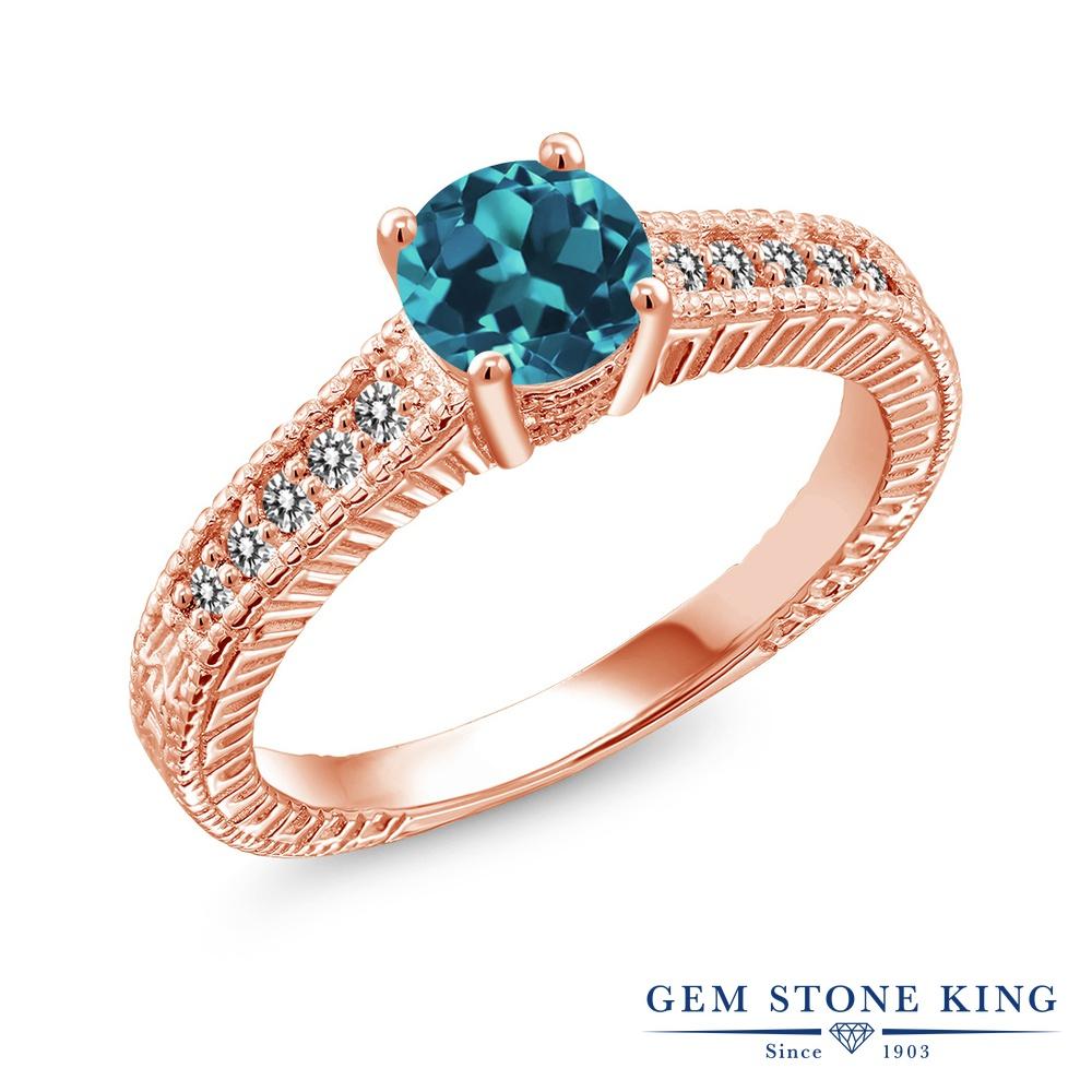 【10%OFF】 Gem Stone King 0.92カラット 天然 ロンドンブルートパーズ ダイヤモンド 指輪 リング レディース シルバー925 ピンクゴールド 加工 マルチストーン 天然石 11月 誕生石 クリスマスプレゼント 女性 彼女 妻 誕生日