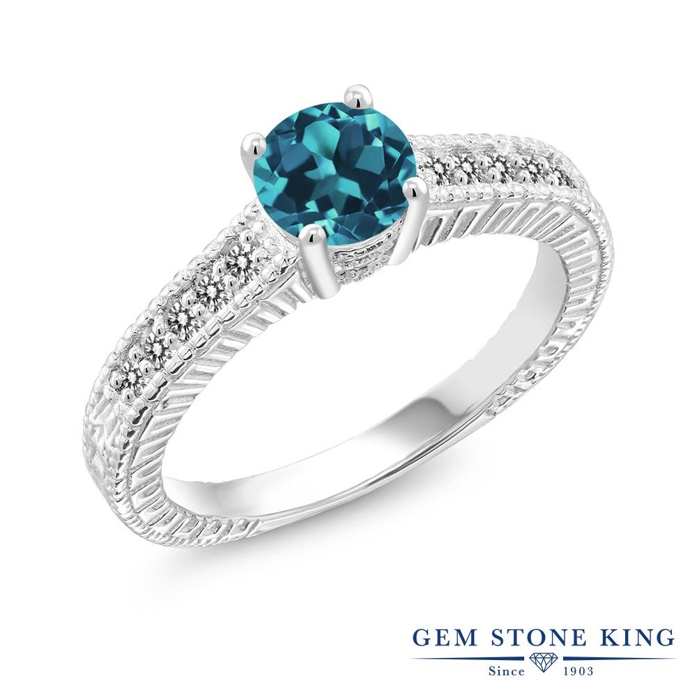 【10%OFF】 Gem Stone King 0.92カラット 天然 ロンドンブルートパーズ ダイヤモンド 指輪 リング レディース シルバー925 マルチストーン 天然石 11月 誕生石 クリスマスプレゼント 女性 彼女 妻 誕生日