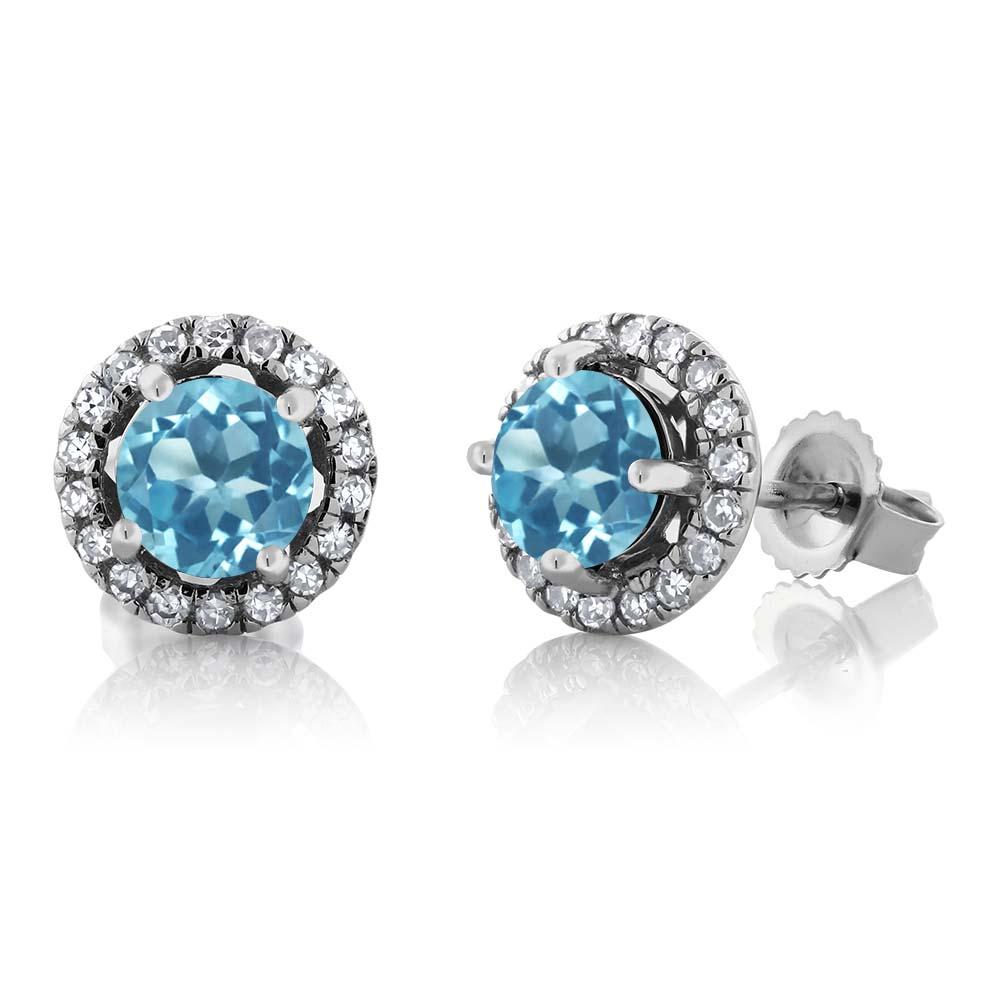 Gem Stone King 1.35カラット 天然トパーズ(スイスブルー) 10金 ホワイトゴールド(K10) 天然ダイヤモンド ピアス レディース スタッド 天然石 誕生石 金属アレルギー対応 誕生日プレゼント