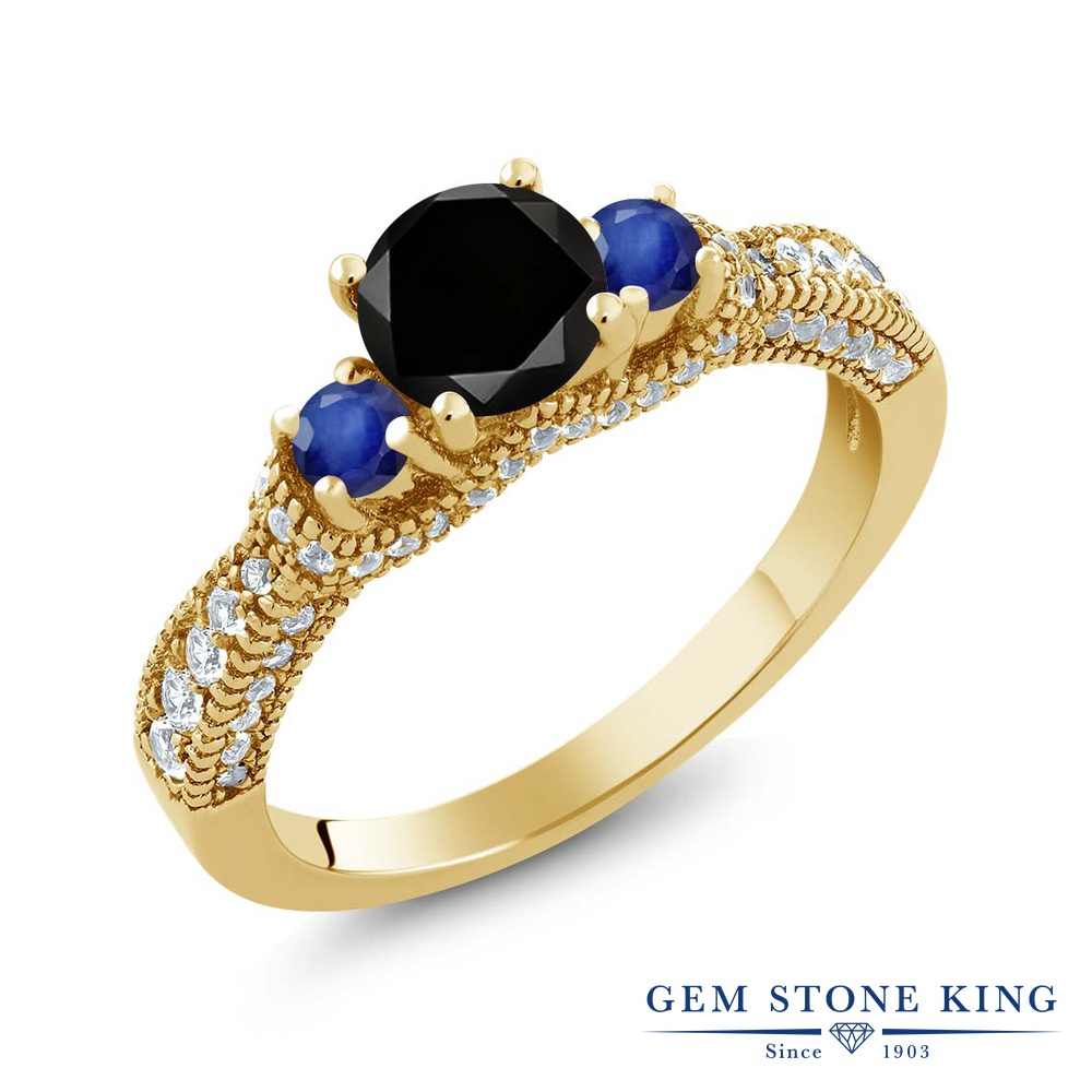 【10%OFF】 Gem Stone King 1.8カラット ブラックダイヤモンド 天然 サファイア 指輪 リング レディース シルバー925 イエローゴールド 加工 ブラック ダイヤ スリーストーン 天然石 4月 誕生石 クリスマスプレゼント 女性 彼女 妻 誕生日