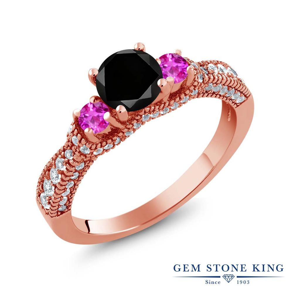 Gem Stone King 1.8カラット 天然ブラックダイヤモンド ピンクサファイア シルバー925 ピンクゴールドコーティング 指輪 リング レディース ブラック ダイヤ スリーストーン 天然石 4月 誕生石 金属アレルギー対応 誕生日プレゼント