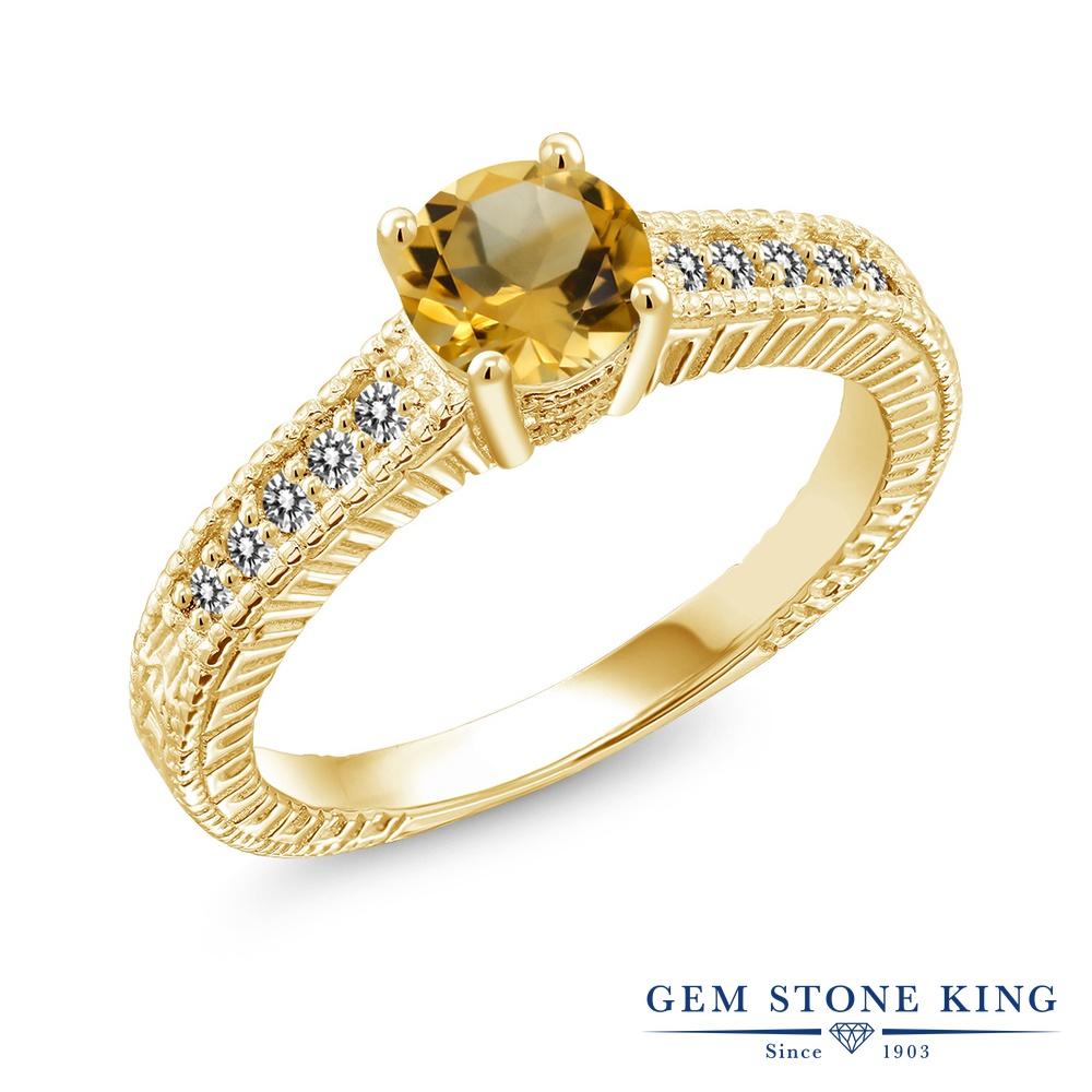 【10%OFF】 Gem Stone King 0.87カラット 天然 シトリン ダイヤモンド 指輪 リング レディース シルバー925 イエローゴールド 加工 マルチストーン 天然石 11月 誕生石 クリスマスプレゼント 女性 彼女 妻 誕生日