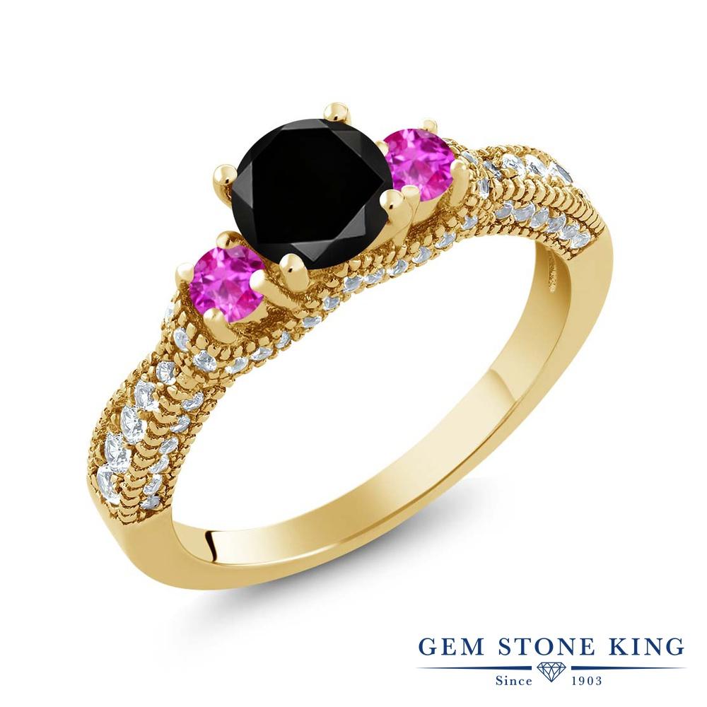 Gem Stone King 1.8カラット 天然ブラックダイヤモンド ピンクサファイア シルバー925 イエローゴールドコーティング 指輪 リング レディース ブラック ダイヤ スリーストーン 天然石 4月 誕生石 金属アレルギー対応 誕生日プレゼント