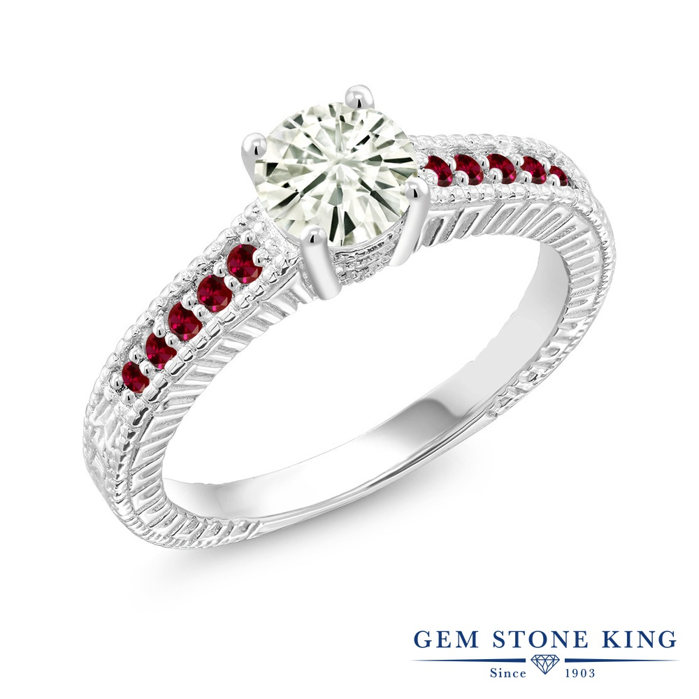【10%OFF】 Gem Stone King 0.95カラット Forever Classic モアサナイト Charles & Colvard 合成ルビー 指輪 リング レディース シルバー925 モアッサナイト マルチストーン クリスマスプレゼント 女性 彼女 妻 誕生日