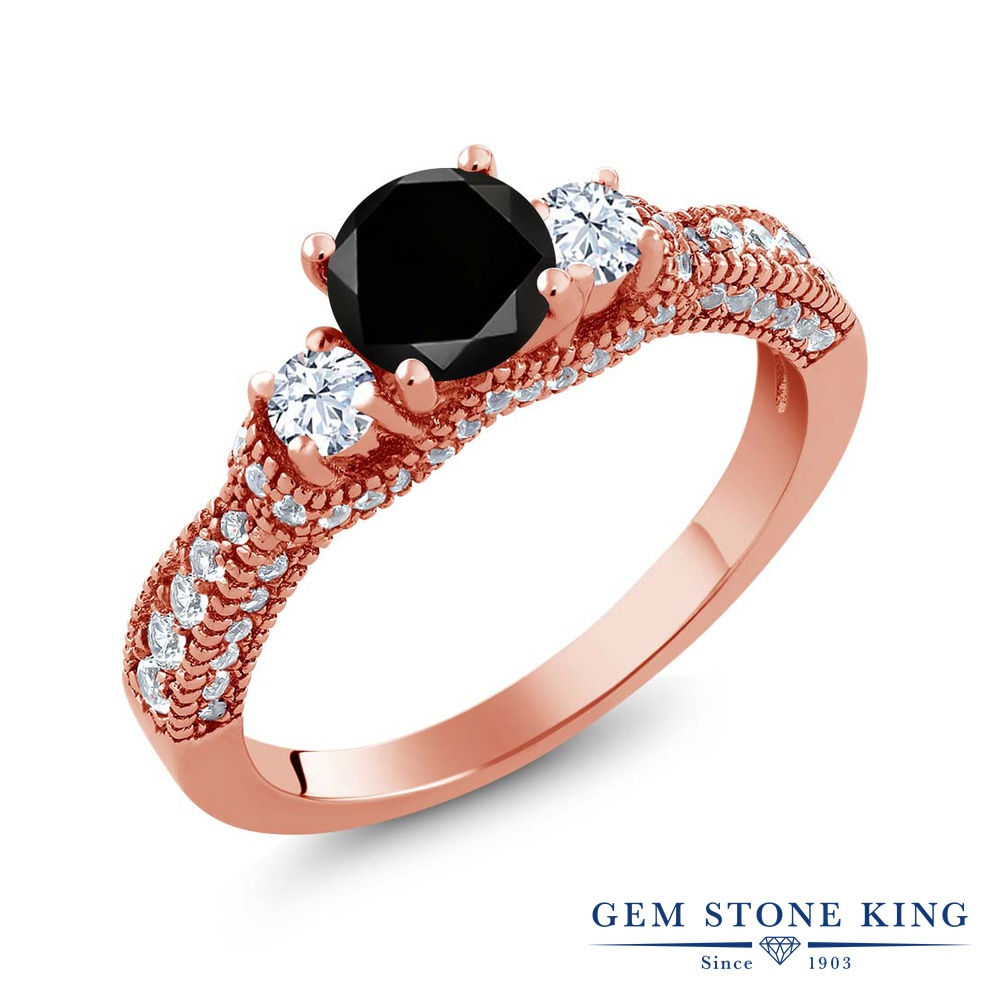 Gem Stone King 1.82カラット 天然ブラックダイヤモンド 天然 トパーズ (無色透明) シルバー925 ピンクゴールドコーティング 指輪 リング レディース ブラック ダイヤ スリーストーン 天然石 4月 誕生石 金属アレルギー対応 誕生日プレゼント