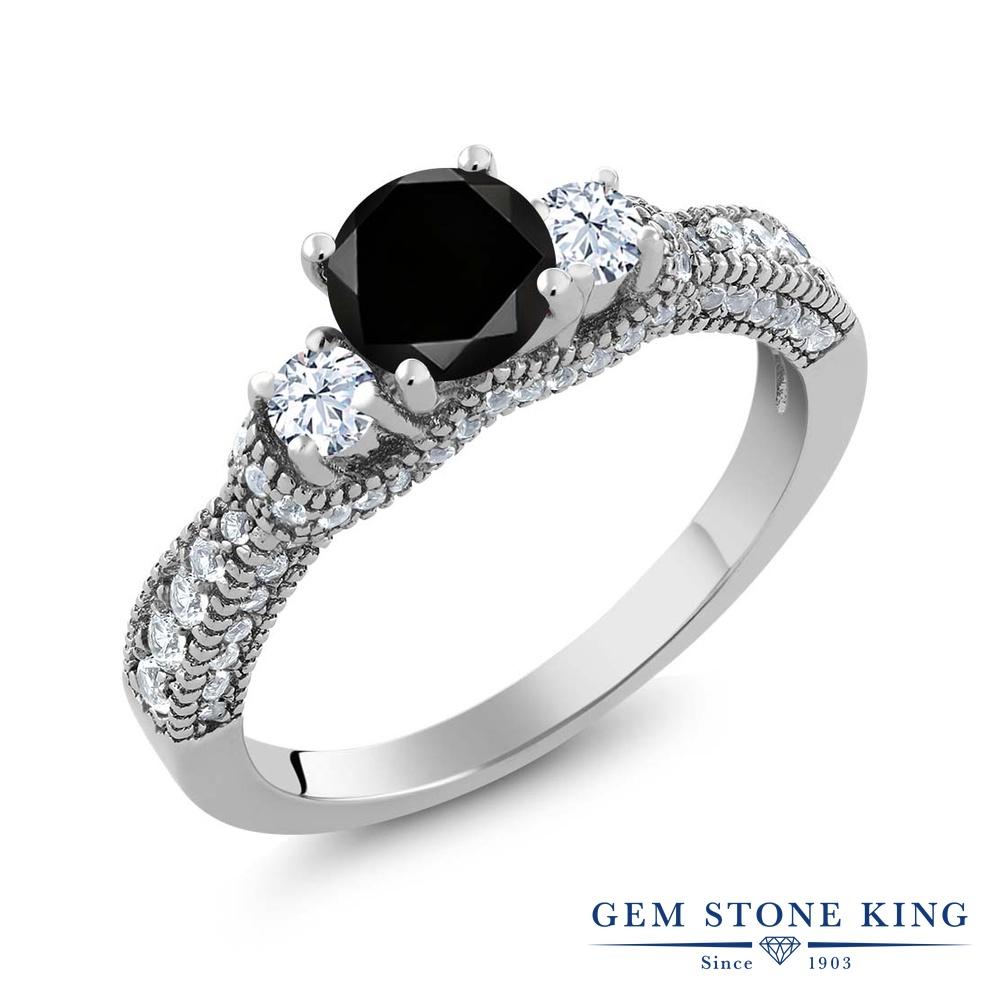 Gem Stone King 1.82カラット 天然ブラックダイヤモンド 天然 トパーズ (無色透明) シルバー925 指輪 リング レディース ブラック ダイヤ スリーストーン 天然石 4月 誕生石 金属アレルギー対応 誕生日プレゼント