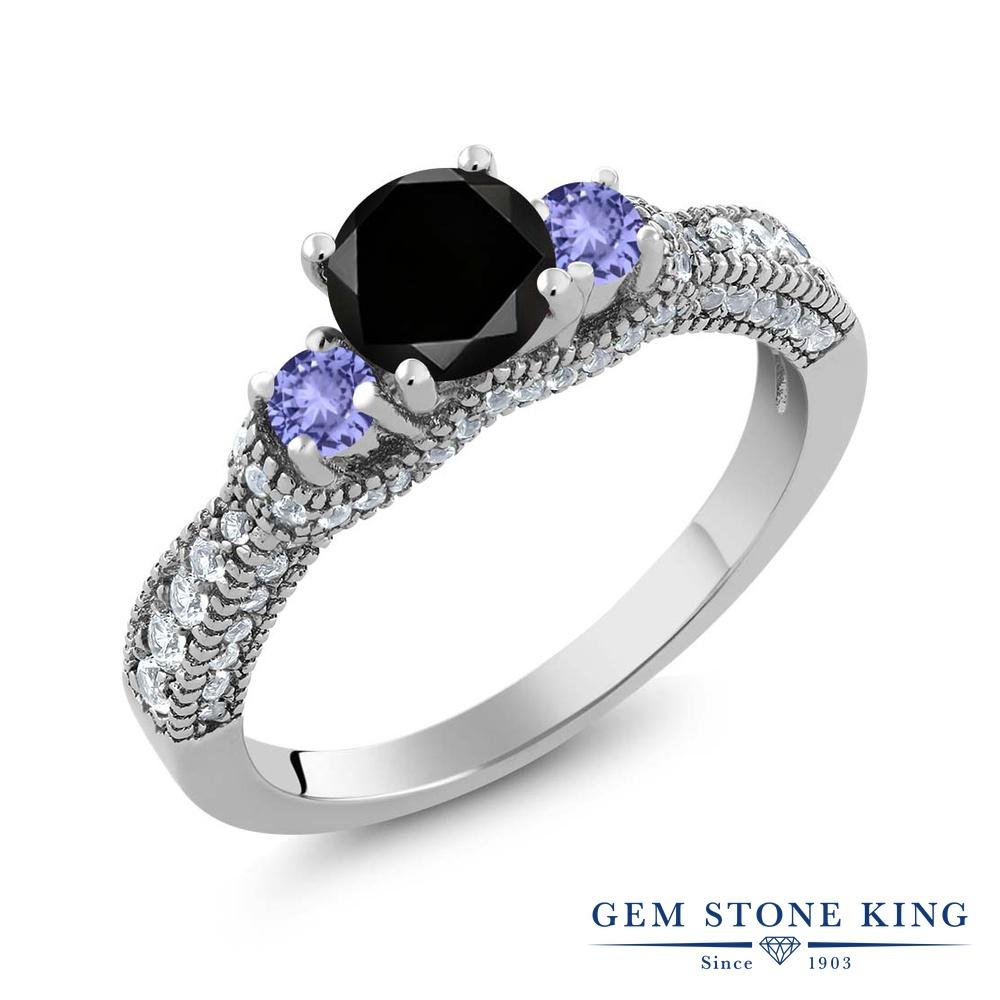 【10%OFF】 Gem Stone King 1.78カラット ブラックダイヤモンド 天然石 タンザナイト 指輪 リング レディース シルバー925 ブラック ダイヤ スリーストーン 4月 誕生石 クリスマスプレゼント 女性 彼女 妻 誕生日