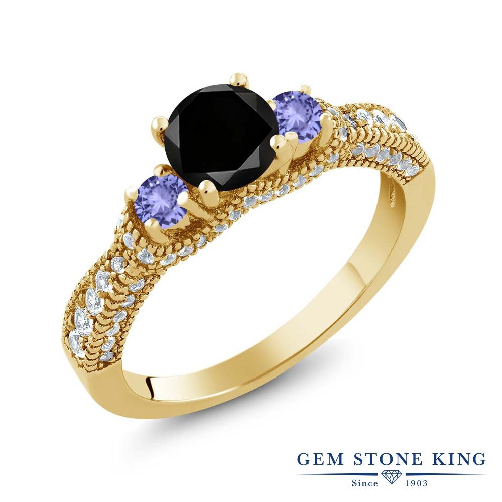【10%OFF】 Gem Stone King 1.78カラット ブラックダイヤモンド 天然石 タンザナイト 指輪 リング レディース シルバー925 イエローゴールド 加工 ブラック ダイヤ スリーストーン 4月 誕生石 クリスマスプレゼント 女性 彼女 妻 誕生日