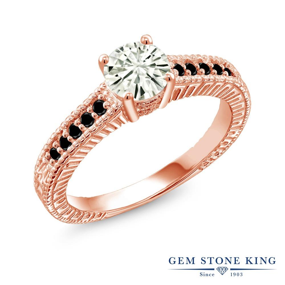 Gem Stone King 0.97カラット Forever Classic モアサナイト Charles & Colvard 天然ブラックダイヤモンド シルバー925 ピンクゴールドコーティング 指輪 リング レディース モアッサナイト マルチストーン 金属アレルギー対応 誕生日プレゼント