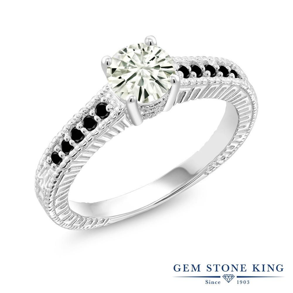 Gem Stone King 0.97カラット Forever Classic モアサナイト Charles & Colvard 天然ブラックダイヤモンド シルバー925 指輪 リング レディース モアッサナイト マルチストーン 金属アレルギー対応 誕生日プレゼント