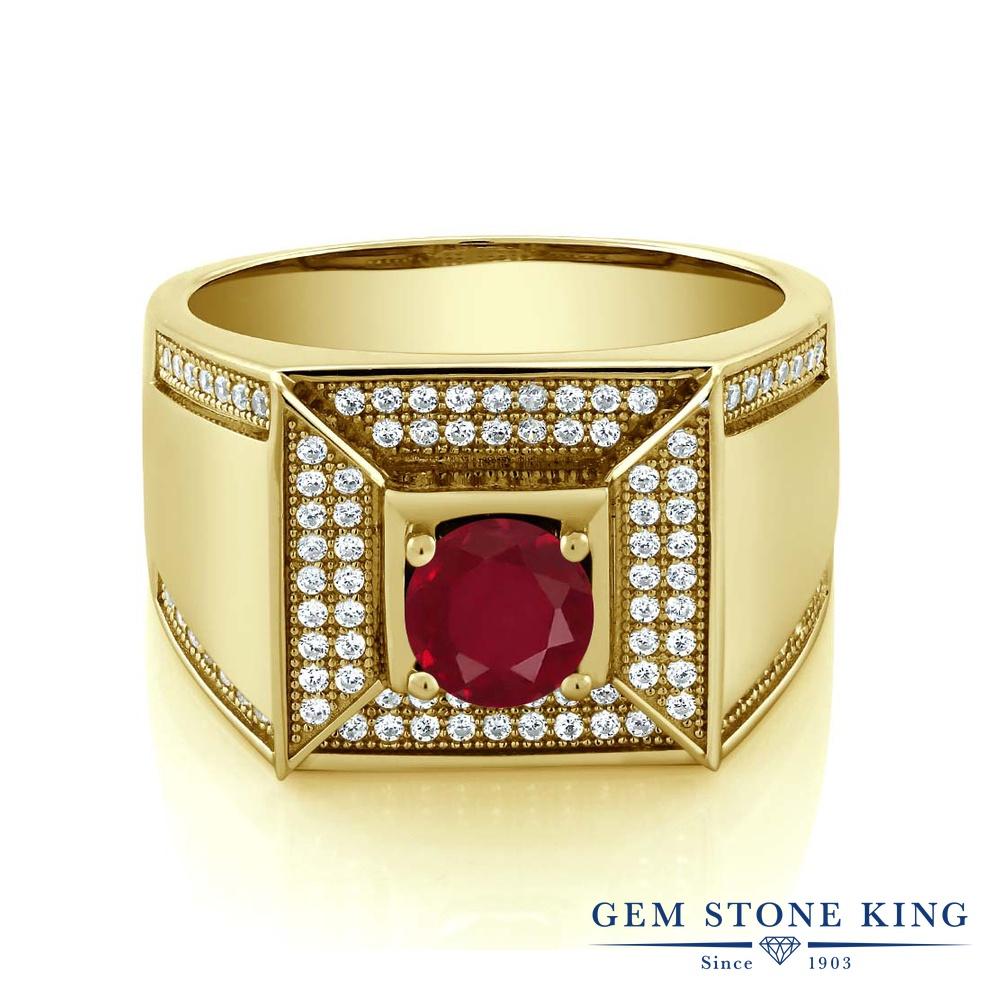 Gem Stone King 2.1カラット 天然 ルビー シルバー925 イエローゴールドコーティング 指輪 リング レディース 大粒 カレッジリング 天然石 7月 誕生石 金属アレルギー対応 誕生日プレゼント