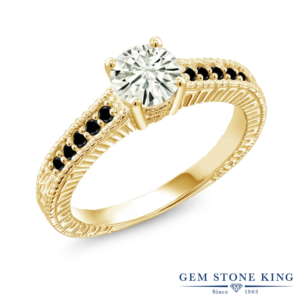【10%OFF】 Gem Stone King 0.97カラット Forever Classic モアサナイト Charles & Colvard ブラックダイヤモンド 指輪 リング レディース シルバー925 イエローゴールド 加工 モアッサナイト マルチストーン クリスマスプレゼント 女性 彼女 妻 誕生日