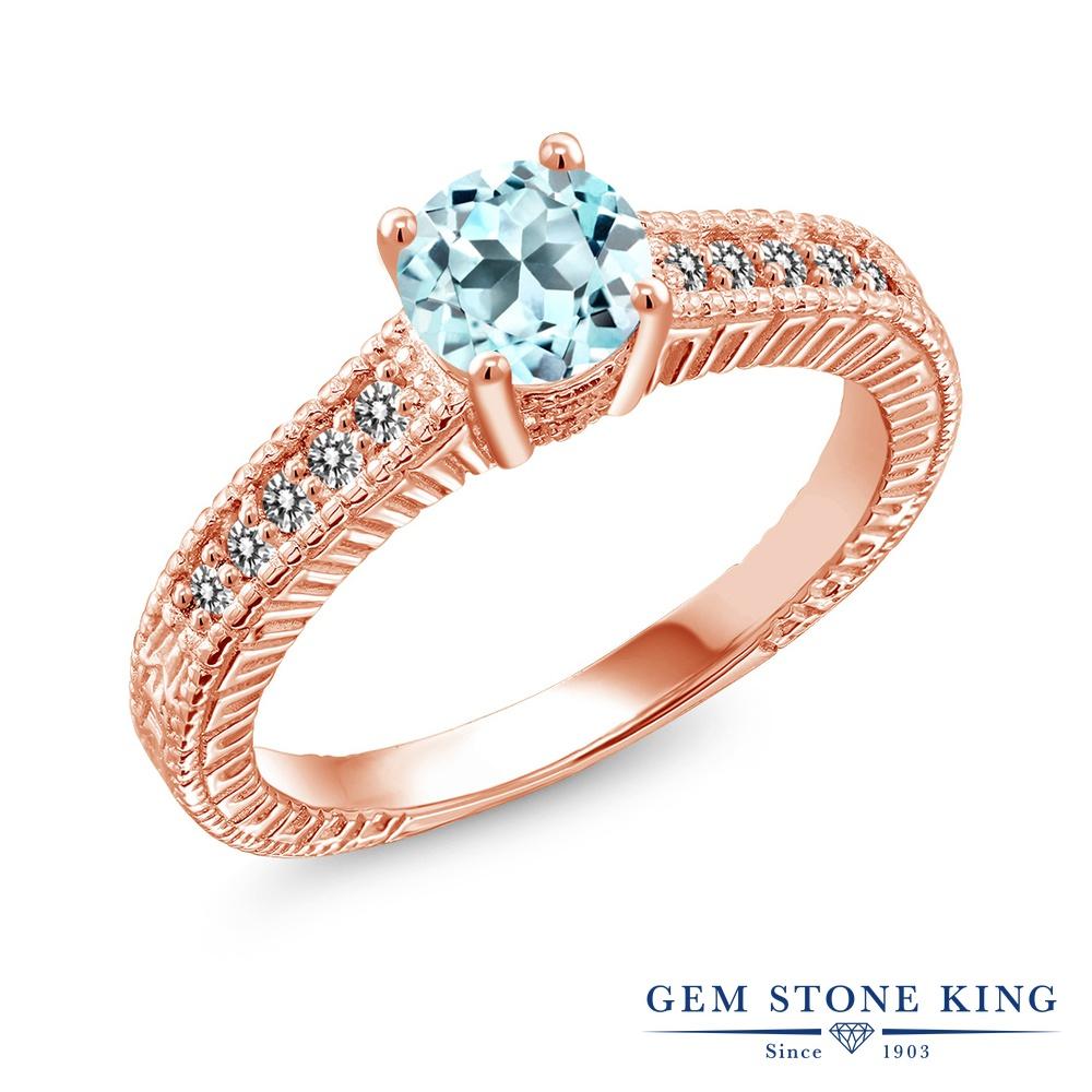 【10%OFF】 Gem Stone King 1.07カラット 天然 スカイブルートパーズ ダイヤモンド 指輪 リング レディース シルバー925 ピンクゴールド 加工 マルチストーン 天然石 11月 誕生石 クリスマスプレゼント 女性 彼女 妻 誕生日