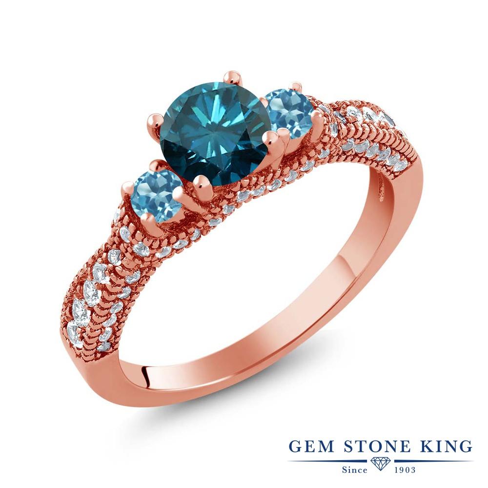 Gem Stone King 1.84カラット 天然 ブルーダイヤモンド 天然 スイスブルートパーズ シルバー925 ピンクゴールドコーティング 指輪 リング レディース ブルー ダイヤ スリーストーン 天然石 4月 誕生石 金属アレルギー対応 誕生日プレゼント
