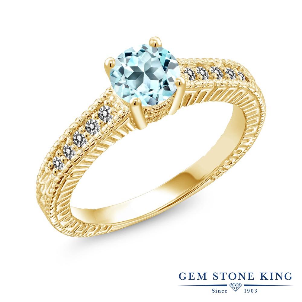 Gem Stone King 1.07カラット 天然 スカイブルートパーズ 天然 ダイヤモンド シルバー925 イエローゴールドコーティング 指輪 リング レディース マルチストーン 天然石 11月 誕生石 金属アレルギー対応 誕生日プレゼント