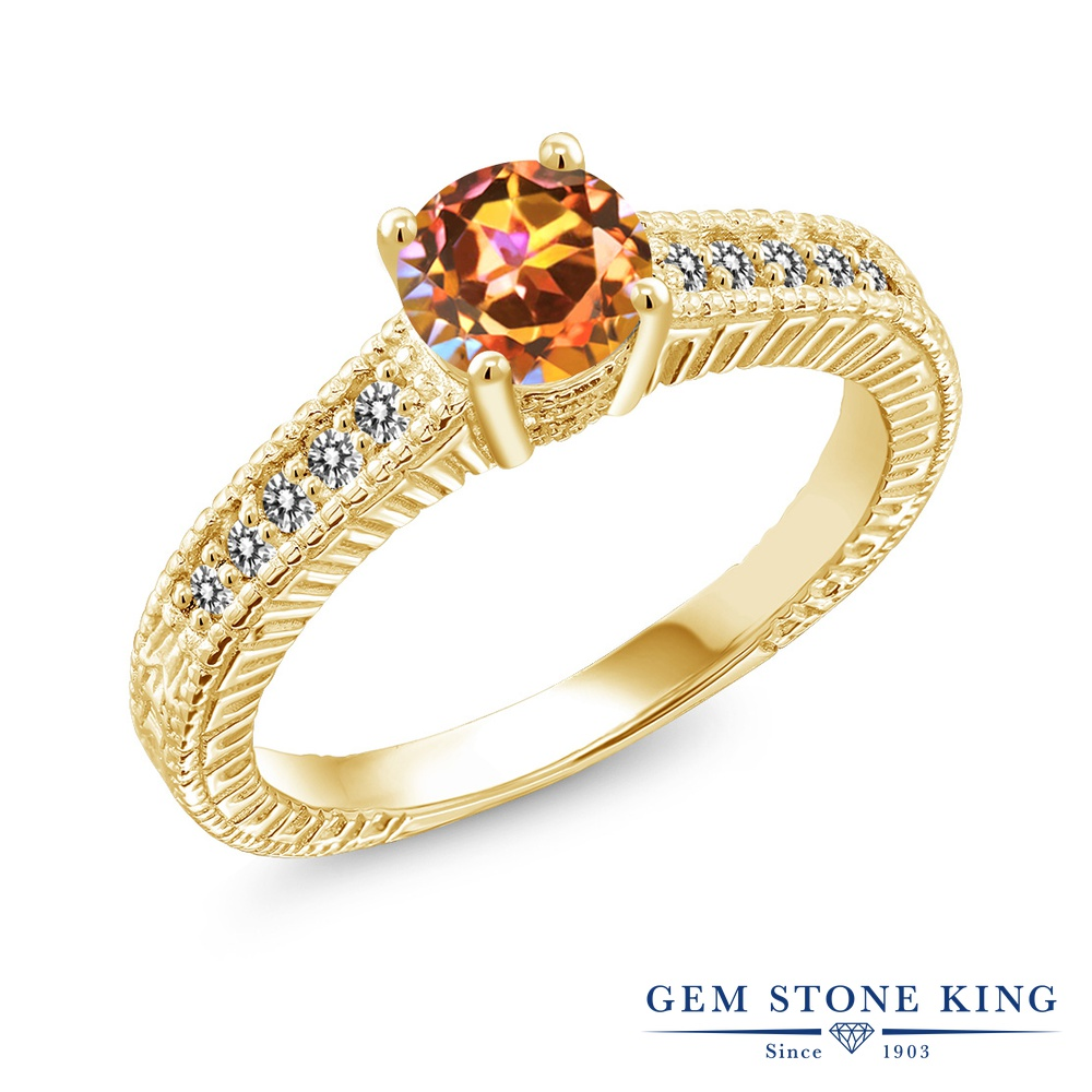 【10%OFF】 Gem Stone King 1.17カラット 天然石 エクスタシーミスティックトパーズ 天然 ダイヤモンド 指輪 リング レディース シルバー925 イエローゴールド 加工 大粒 マルチストーン クリスマスプレゼント 女性 彼女 妻 誕生日