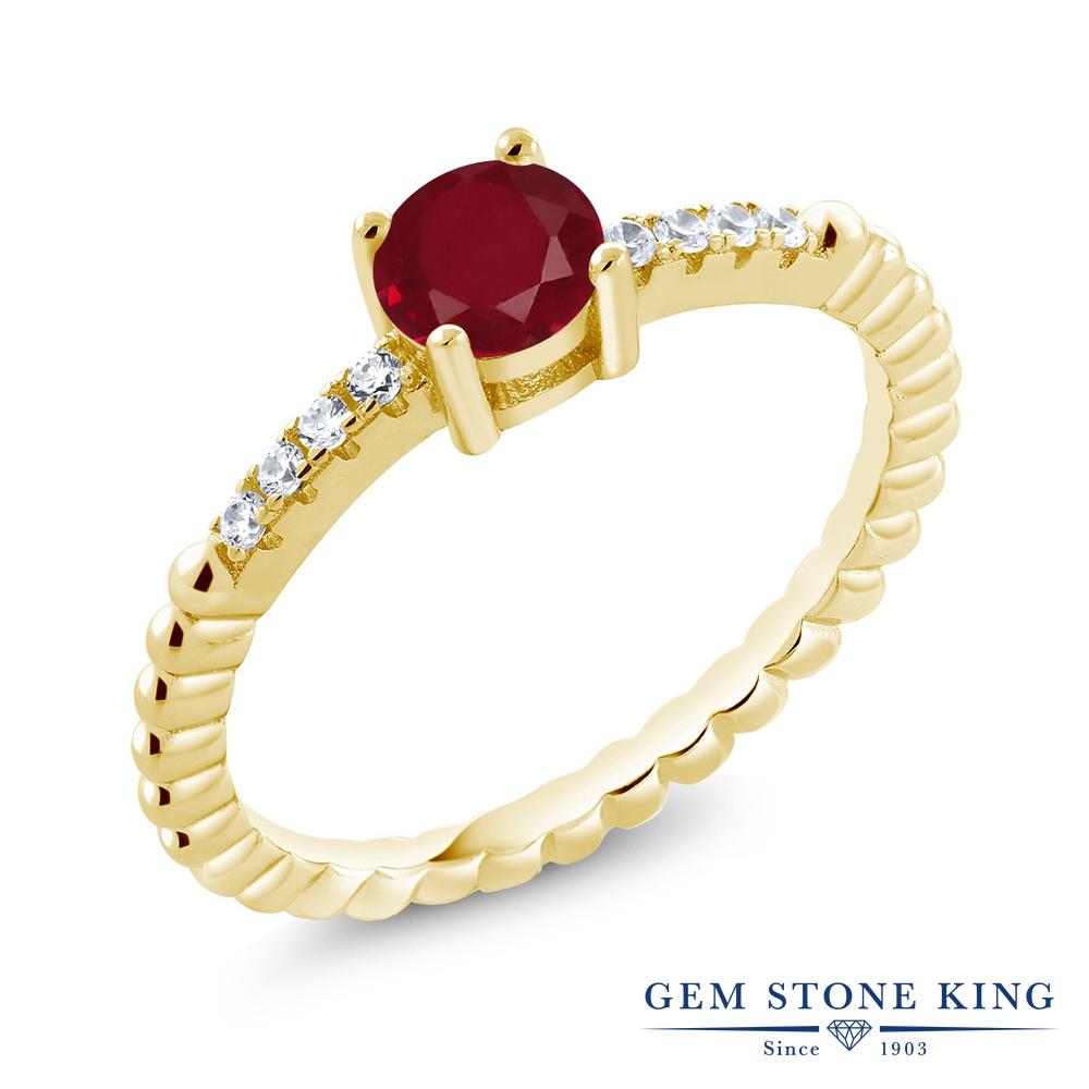 Gem Stone King 0.63カラット 天然 ルビー 指輪 リング レディース シルバー925 イエローゴールド 加工 天然石 7月 誕生石 金属アレルギー対応