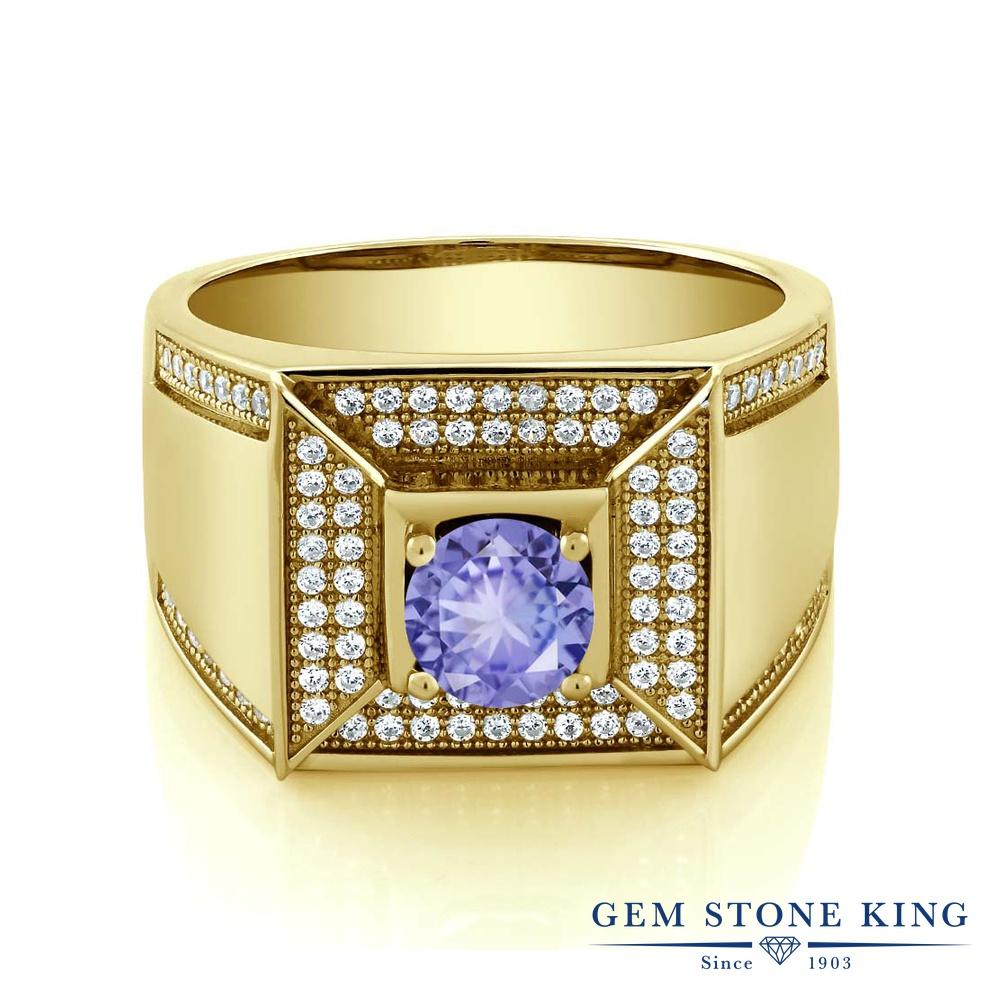 Gem Stone King 1.9カラット シルバー925 イエローゴールドコーティング 指輪 リング レディース カレッジリング 天然石 金属アレルギー対応 誕生日プレゼント