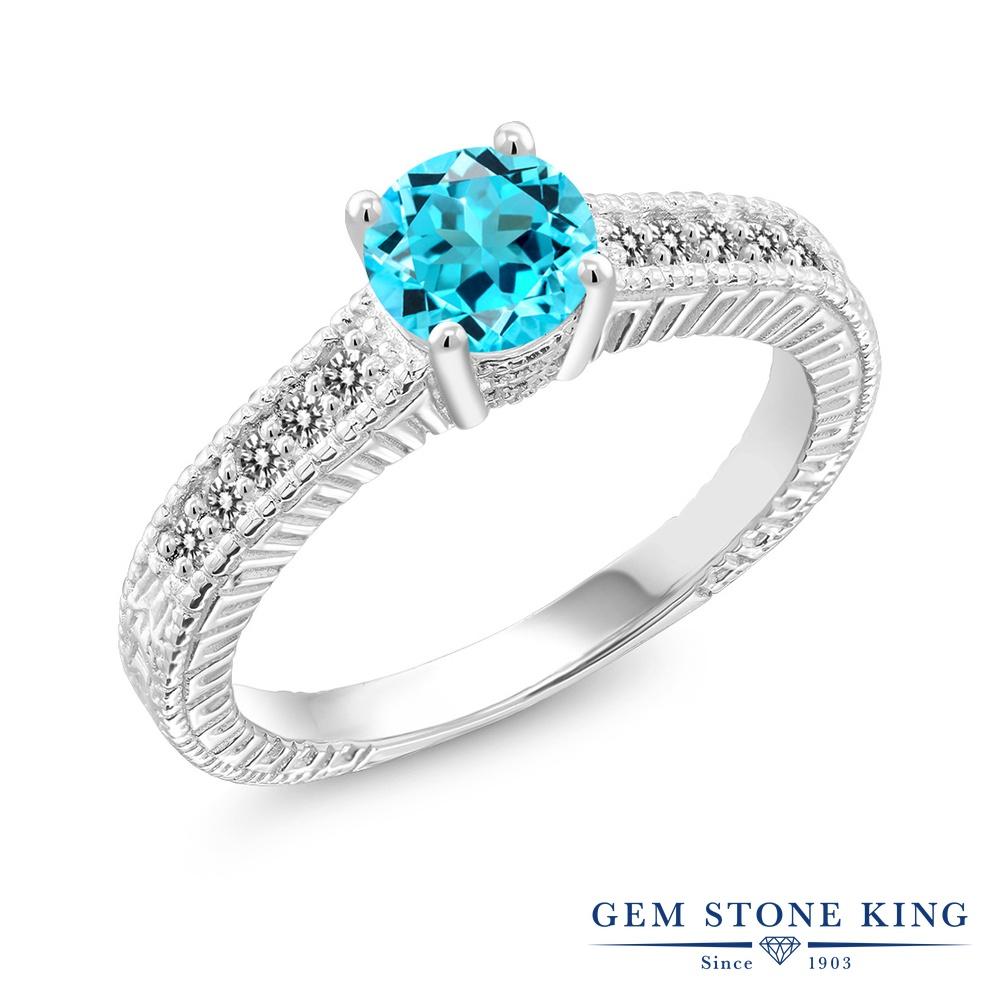 Gem Stone King 1.07カラット 天然 スイスブルートパーズ 天然 ダイヤモンド シルバー925 指輪 リング レディース マルチストーン 天然石 11月 誕生石 金属アレルギー対応 誕生日プレゼント