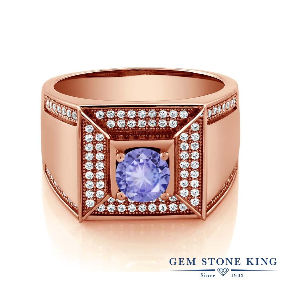 Gem Stone King 2カラット シルバー925 ピンクゴールドコーティング 指輪 リング レディース カレッジリング 天然石 金属アレルギー対応 誕生日プレゼント