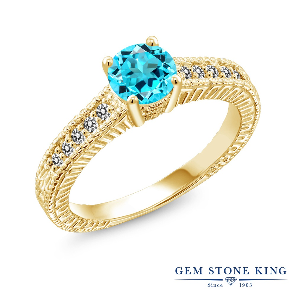 【10%OFF】 Gem Stone King 1.07カラット 天然 スイスブルートパーズ ダイヤモンド 指輪 リング レディース シルバー925 イエローゴールド 加工 マルチストーン 天然石 11月 誕生石 クリスマスプレゼント 女性 彼女 妻 誕生日