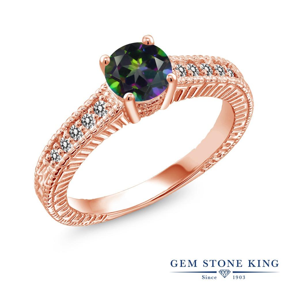 Gem Stone King 1.17カラット 天然石 ミスティックトパーズ (グリーン) 天然 ダイヤモンド シルバー925 ピンクゴールドコーティング 指輪 リング レディース 大粒 マルチストーン 天然石 金属アレルギー対応 誕生日プレゼント