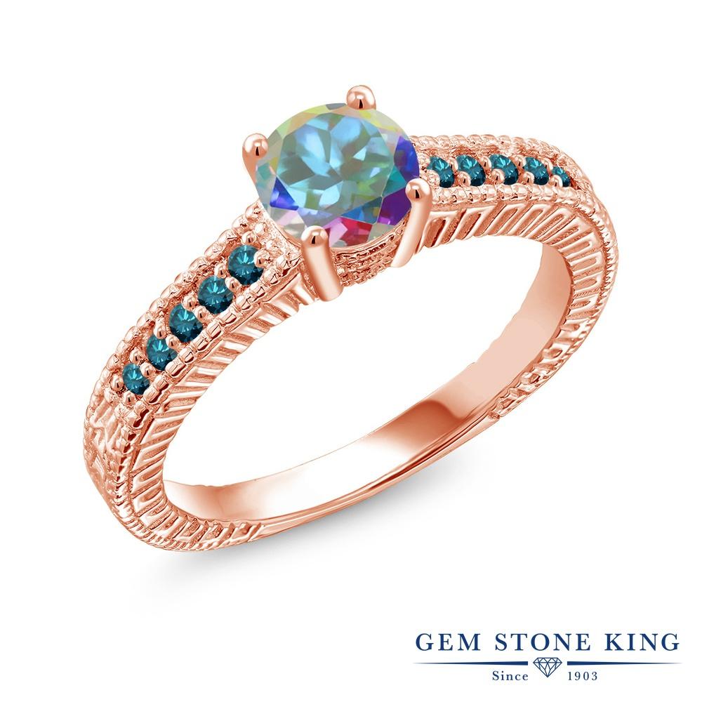 Gem Stone King 1.17カラット 天然石 ミスティックトパーズ (マーキュリーミスト) 天然 ブルーダイヤモンド シルバー925 ピンクゴールドコーティング 指輪 リング レディース 大粒 マルチストーン 天然石 金属アレルギー対応 誕生日プレゼント