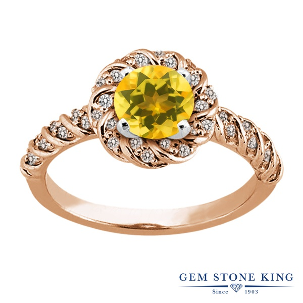 【10%OFF】 Gem Stone King 1.73カラット 天然 シトリン 指輪 リング レディース シルバー925 ピンクゴールド 加工 大粒 天然石 11月 誕生石 クリスマスプレゼント 女性 彼女 妻 誕生日