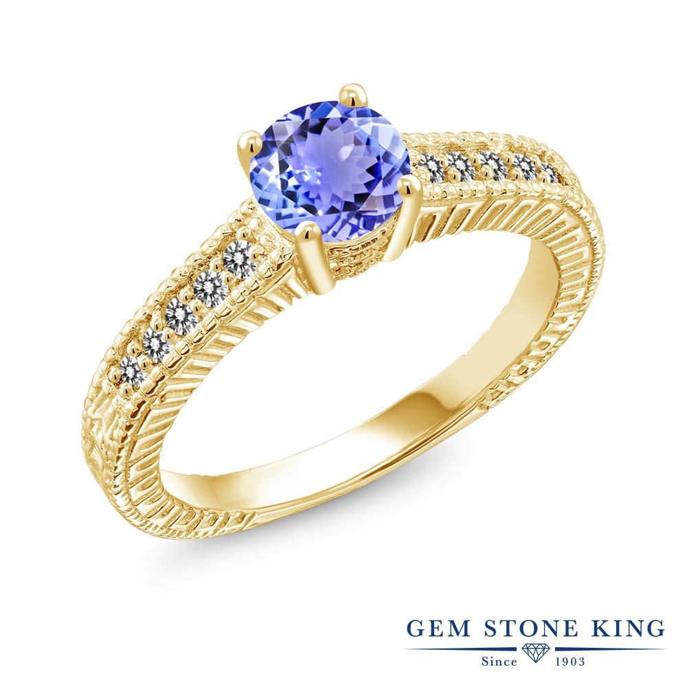 Gem Stone King 1.07カラット 天然石 タンザナイト 天然 ダイヤモンド シルバー925 イエローゴールドコーティング 指輪 リング レディース マルチストーン 天然石 12月 誕生石 金属アレルギー対応 誕生日プレゼント
