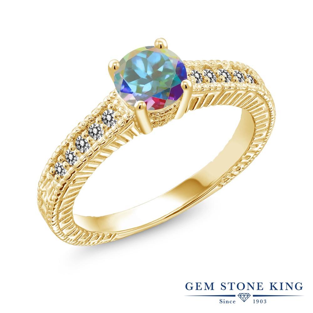 Gem Stone King 1.17カラット 天然石 ミスティックトパーズ (マーキュリーミスト) 天然 ダイヤモンド シルバー925 イエローゴールドコーティング 指輪 リング レディース 大粒 マルチストーン 天然石 金属アレルギー対応 誕生日プレゼント